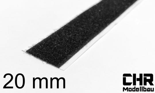 Flauschband 20mm, selbstklebend, schwarz, 1m